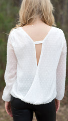 White Buddy Love top with deep V back