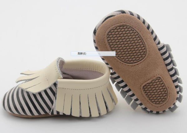 Black Stripe with Beige Fringe Skid Proof Moccasin