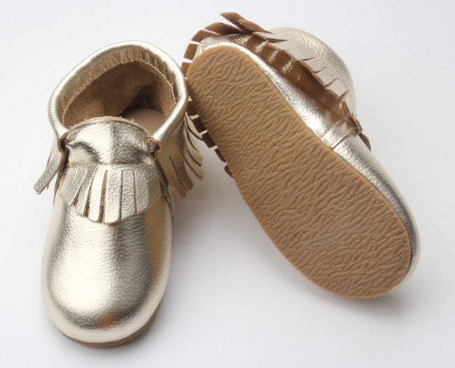 Gold Fringe Sole Moccasin