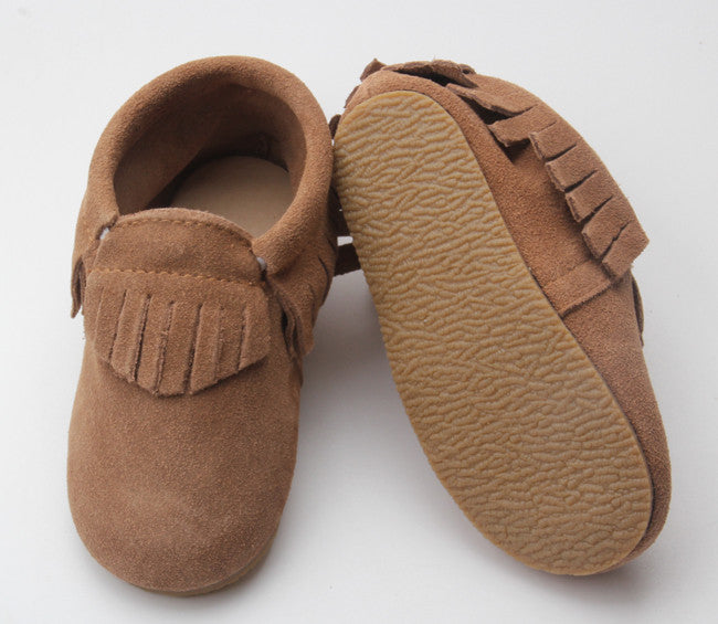 Tan Suede Fringe Sole Moccasin