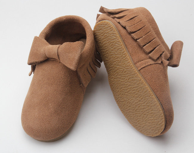 Tan Suede Bow Sole Moccasin