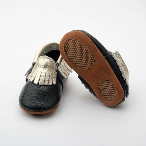 Black with Gold Fringe Skid Proof Moccasin