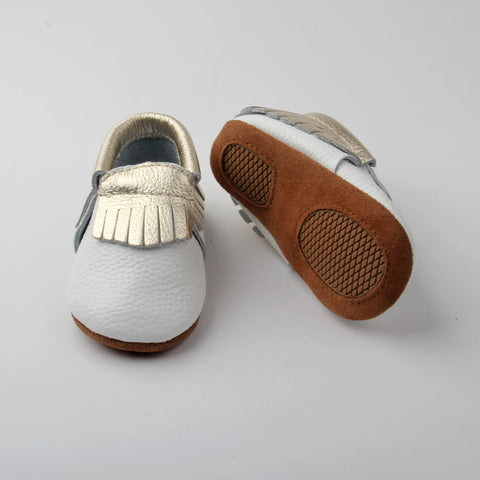 White with Gold Fringe Skid Proof Moccasin