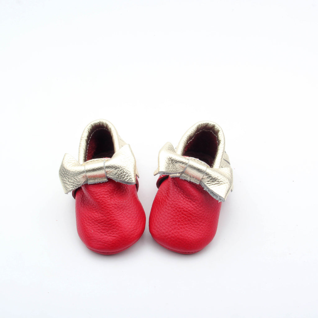 Red with Gold Bow Skid Proof Moccasin