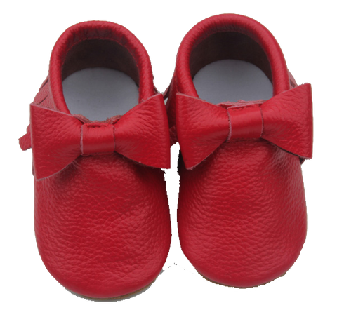 Red Bow Skid Proof Moccasin