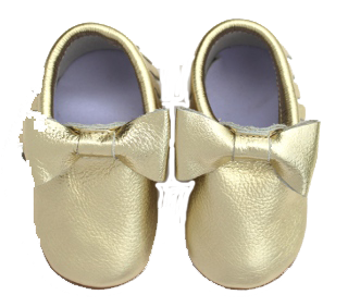 Gold Bow Skid Proof Moccasin