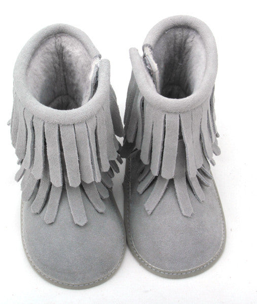 Gray Double Fringe Leather Moccasin Boots