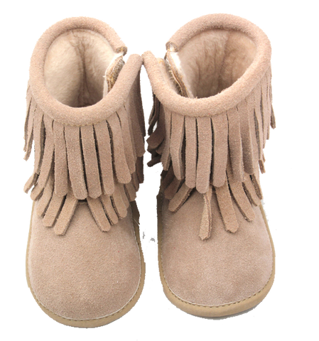 Light Tan Double Fringe Leather Moccasin Boots