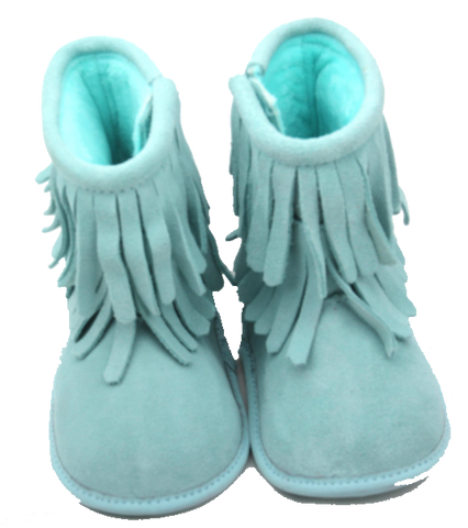 Mint Double Fringe Leather Moccasin Boots