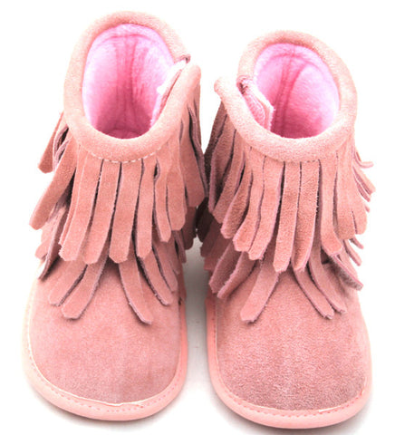 Pink Double Fringe Leather Moccasin Boots