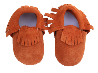 Orange Suede Fringe Skid Proof Moccasin