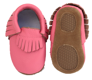 Pink Fringe Skid Proof Moccasin