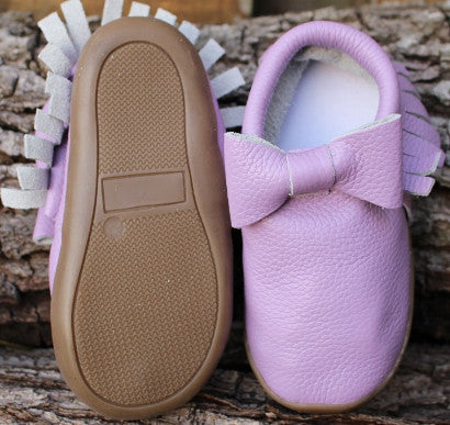 Purple Bow Sole Moccasin
