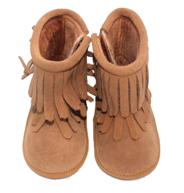 Tan Double Fringe Leather Moccasin Boots