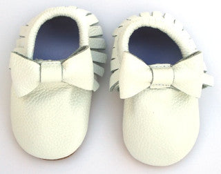 White Bow Skid Proof Moccasin
