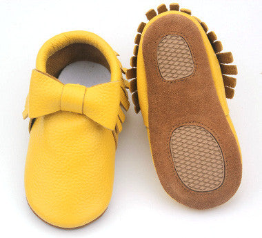 Yellow Bow Skid Proof Moccasin