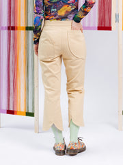 Unflower Beige Trousers with Curved Hem