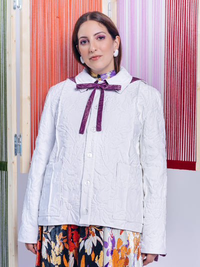 Ventura Ventura X Les Filles White Brocade Jacket Exclusive Sustainable Sailor Collar