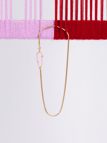 Andres Gallardo Pink Hook Vermeil Chain Necklace Fishing Sea