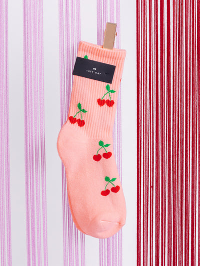Lazy Oaf Cherry Socks Unisex Kawaii Cute Pink