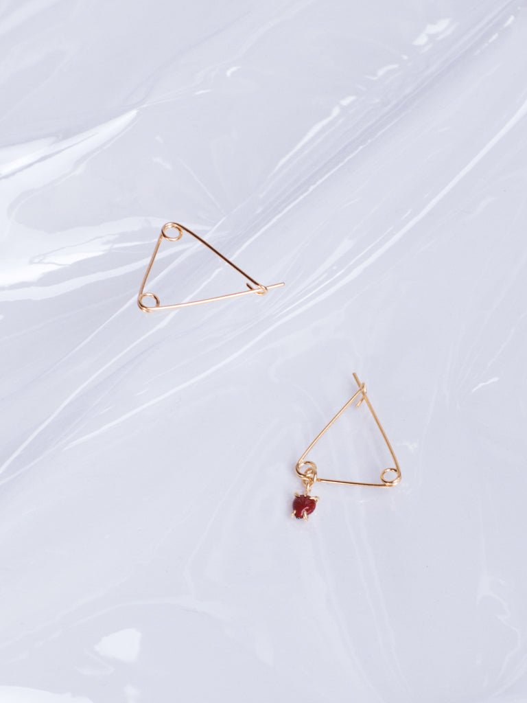 Beatriz Palacios Golden Safety Pin Asymmetrical Earrings