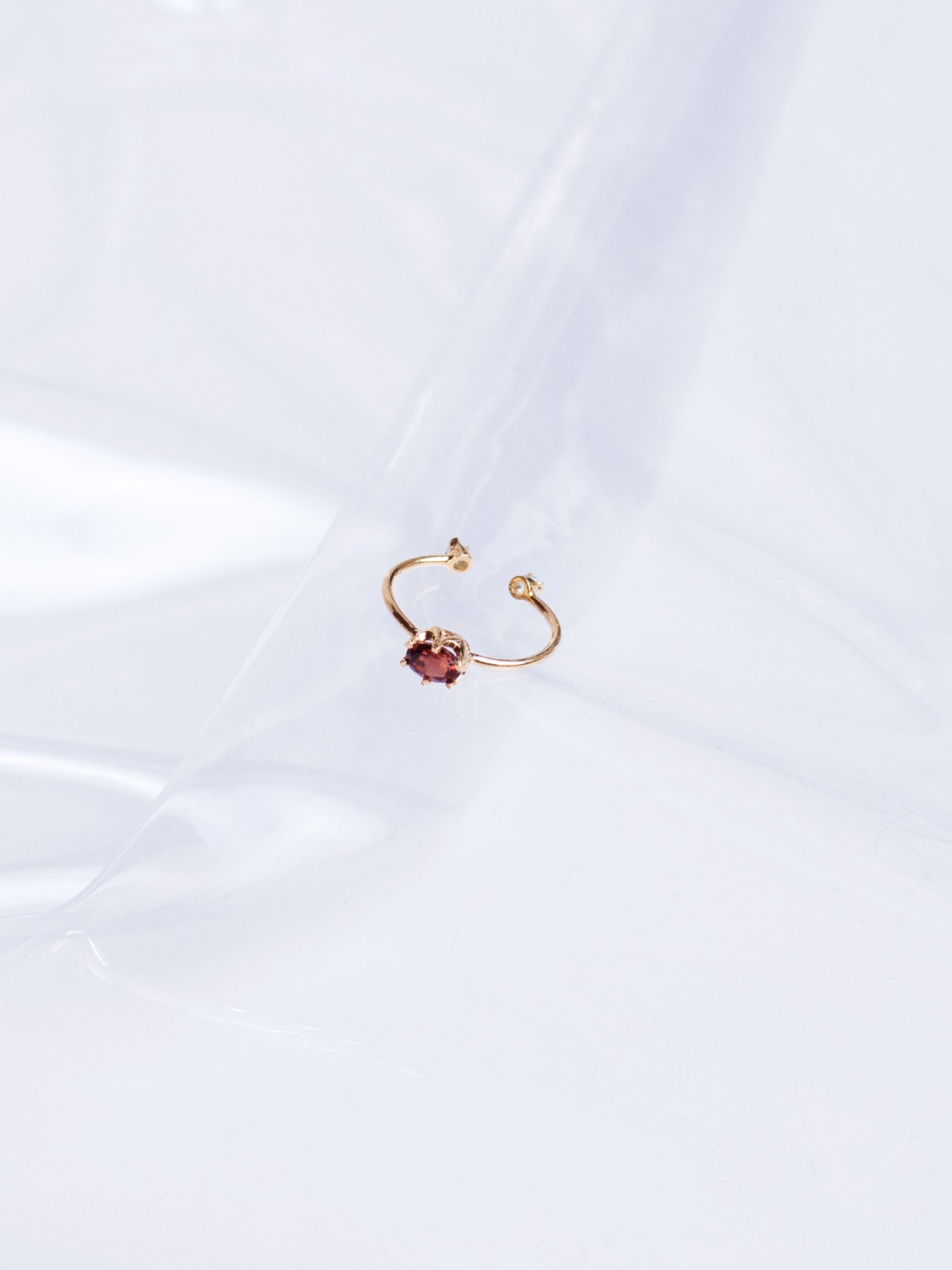 Beatriz Palacios Two Sided Garnet and Topaz Gold Plated Ring