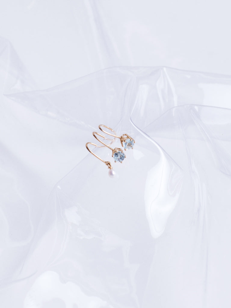 Beatriz Palacios Topaz and Pearl Drop Gold Plated Ear Clip