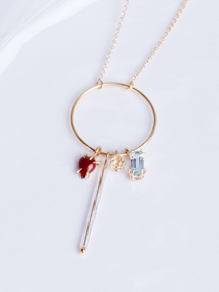 Beatriz Palacios Enamelled Heart, Vintage Glass and Citrine and Blue Topaz Charms Necklace