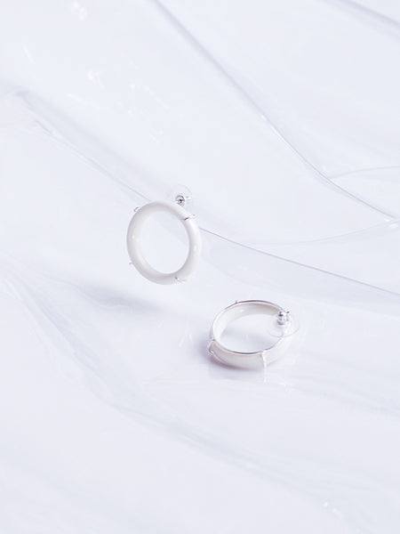 ANDRESGALLARDO Handcrafted White Porcelain Circle and Sterling Silver Linked Earrings