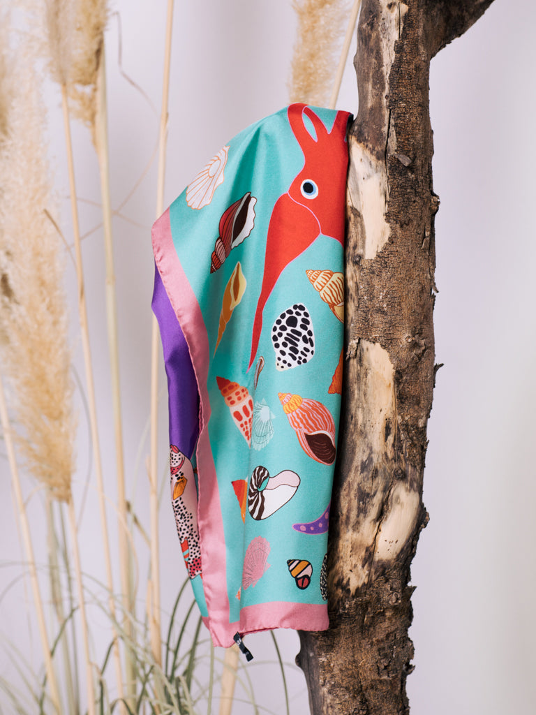 Karen Mabon The Squid and The Whale Silk Scarf in Aqua