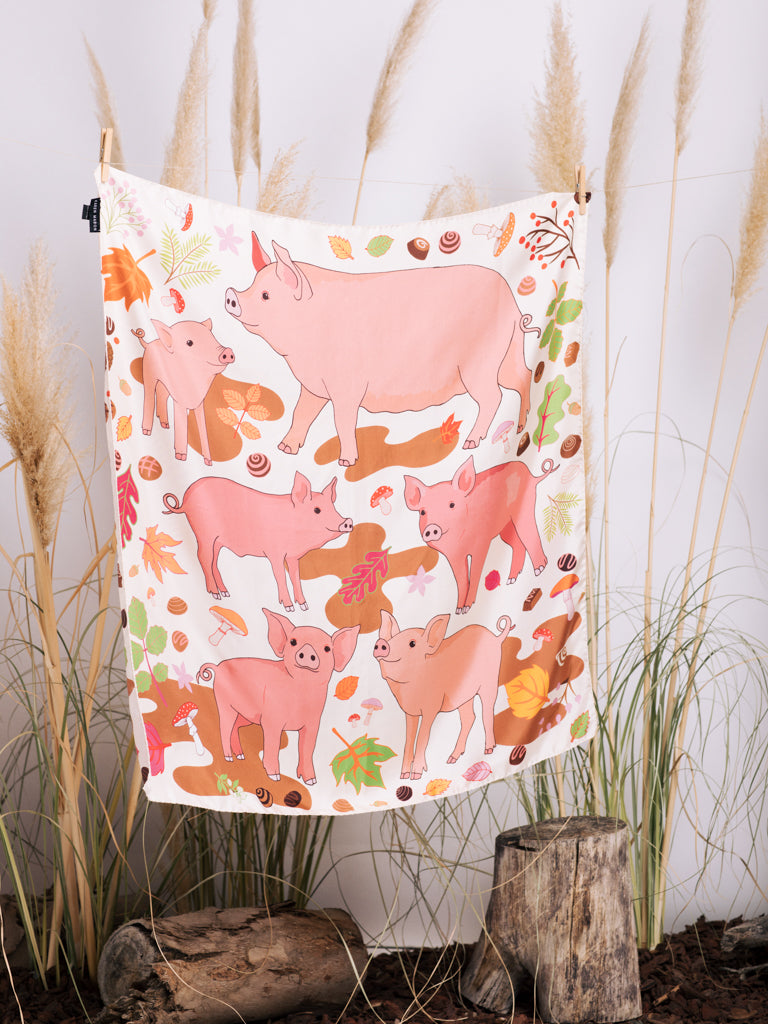 Karen Mabon Treasure Hunt with the Pigs Silk Scarf in Cream