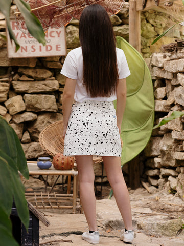 Lazy Oaf X Studio Arhoj Glazed Over Mini Splatter Print Skirt in White