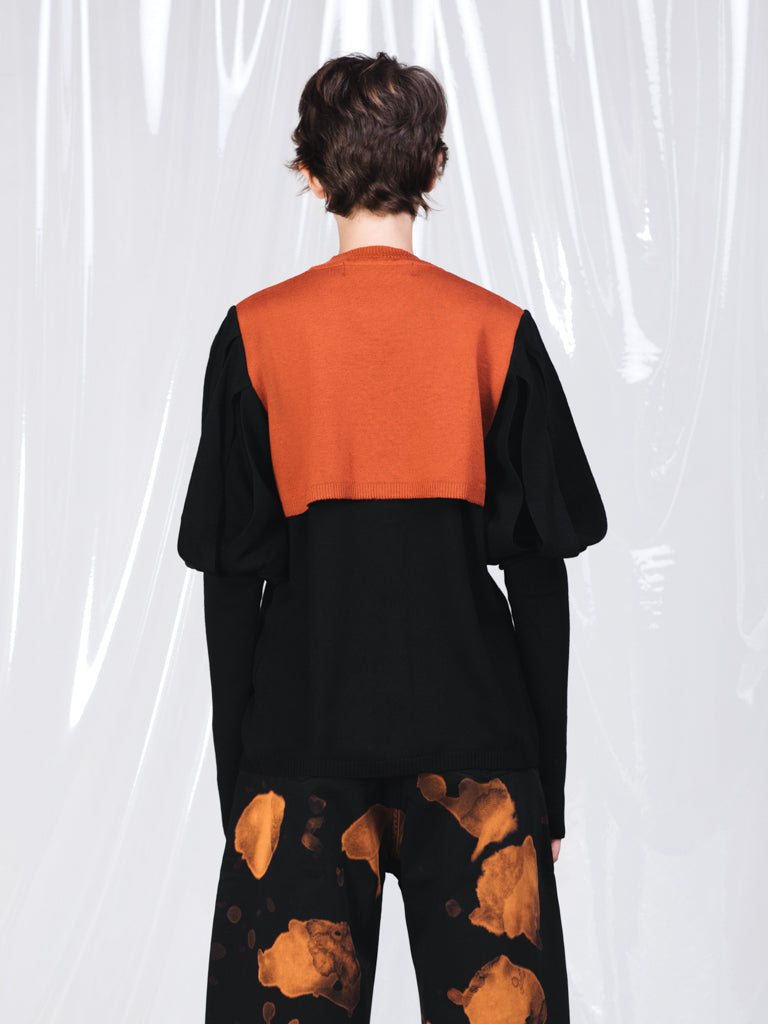 Marques'Almeida Black and Rust Knitted Jumper with Puffed Sleeves