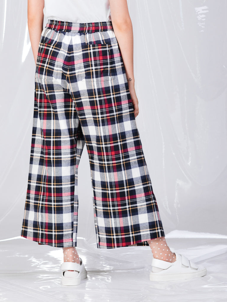 Alexandra Moura Cotton Woven Tartan Pleated Trousers