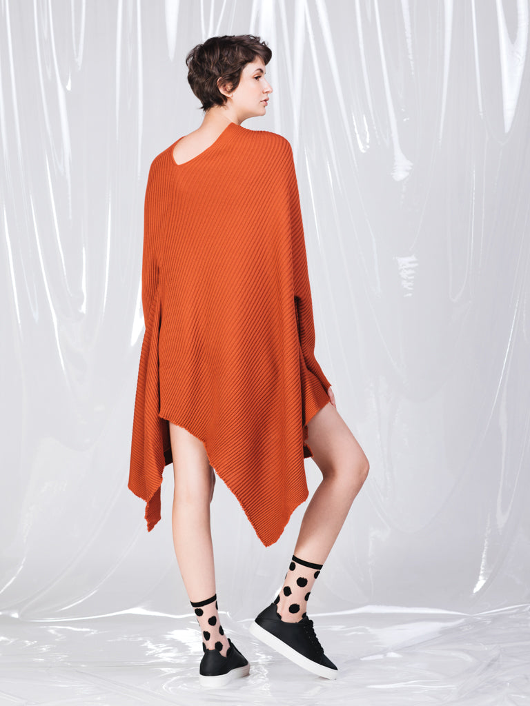 Marques'Almeida Rust Knit Mini Asymmetrical Dress