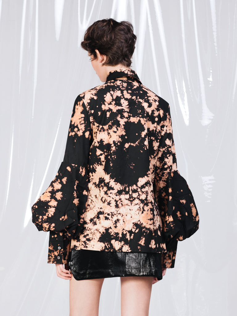 Marques'Almeida Black and Brown Bleach Puff Sleeve Shirt