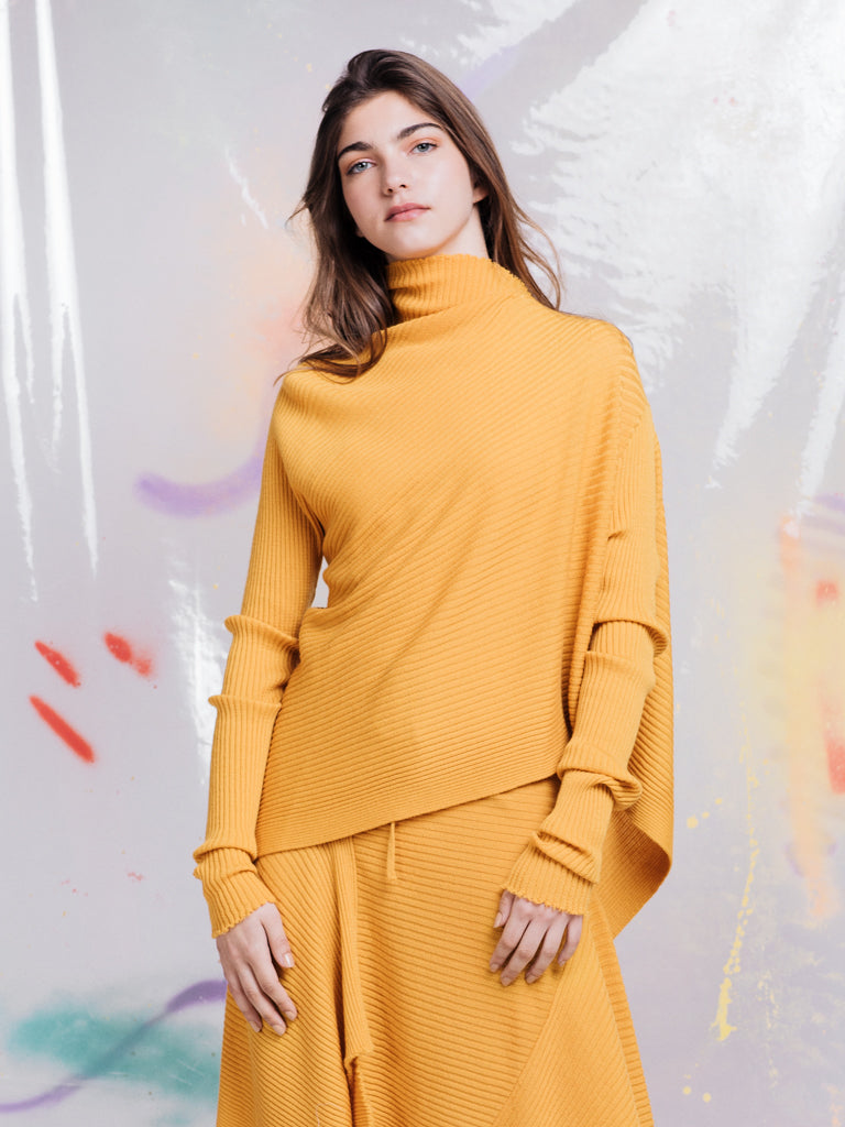 Marques'Almeida Yellow Ribbed Knit Draped Jumper