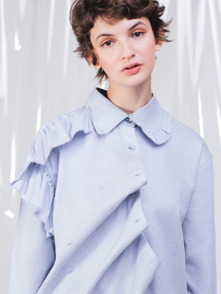 Alexandra Moura Asymmetrical Cotton Ruffles Blue Shirt