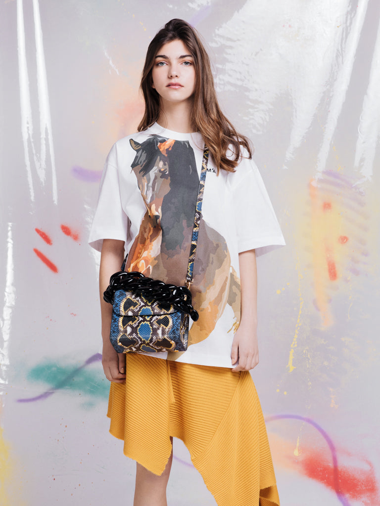 Marques'Almeida Blue and Yellow Snake Chain Bag