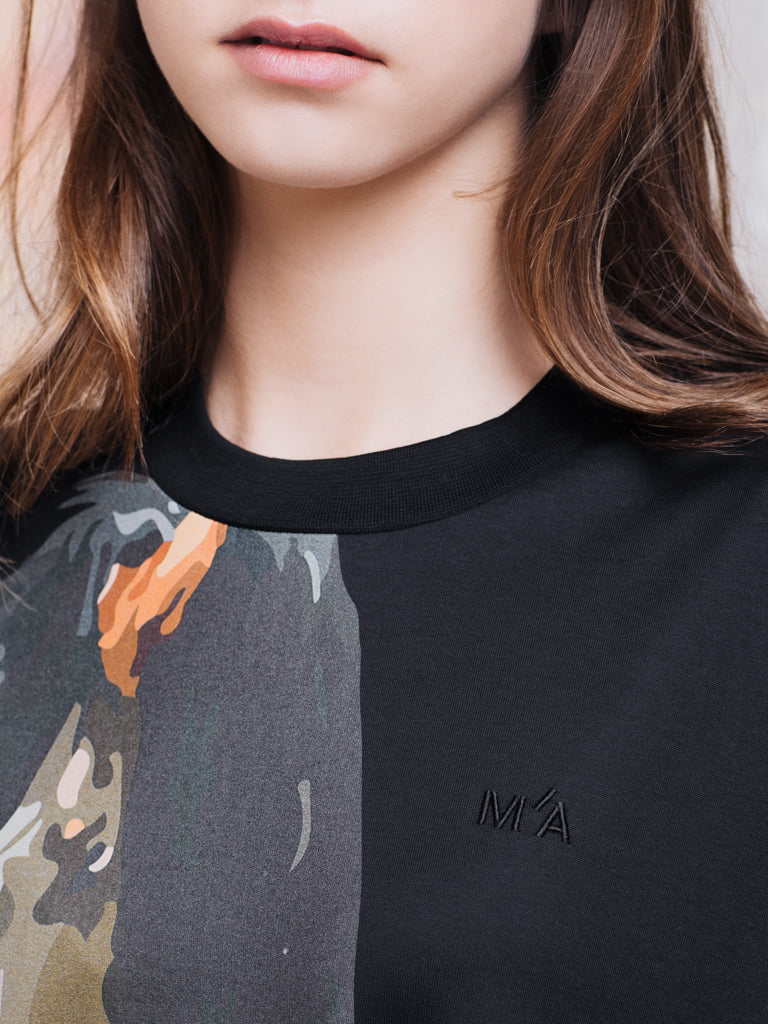 Marques'Almeida Black Horse Print T-shirt with Embroidered Detail