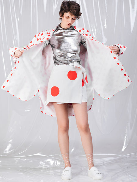Ricardo Andrez Big Red Dots Wrapped Mini Skirt