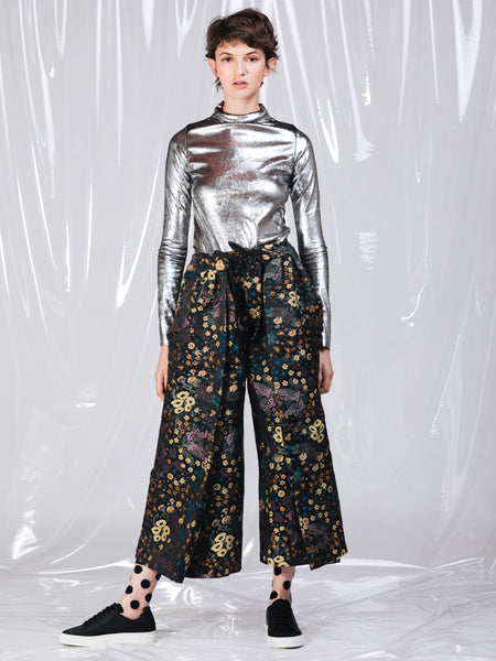 Alexandra Moura Black Flower Jacquard Pleated Trousers