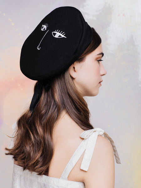 Lazy Oaf Black No Looking Back Beret with White Embroidery