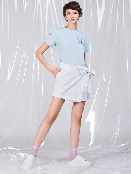 Ricardo Andrez Light Blue Stripes Mini Skirt