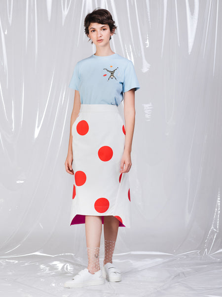 Ricardo Andrez Big Red Dots Wrapped Midi Skirt