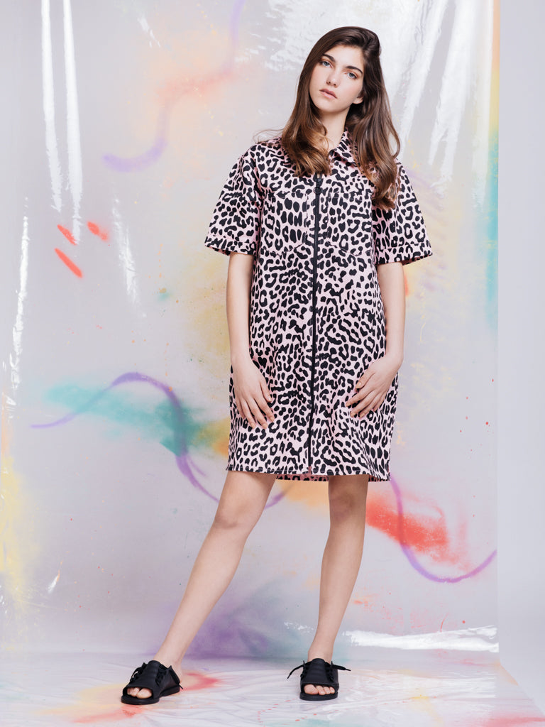 f3698bfab0b83 Lazy Oaf Pink Leopard Shirt Dress
