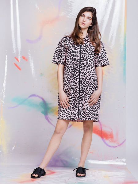Lazy Oaf Pink Leopard Shirt Dress