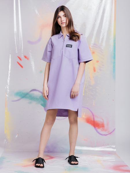 Lazy Oaf Lilac Face Shirt Dress