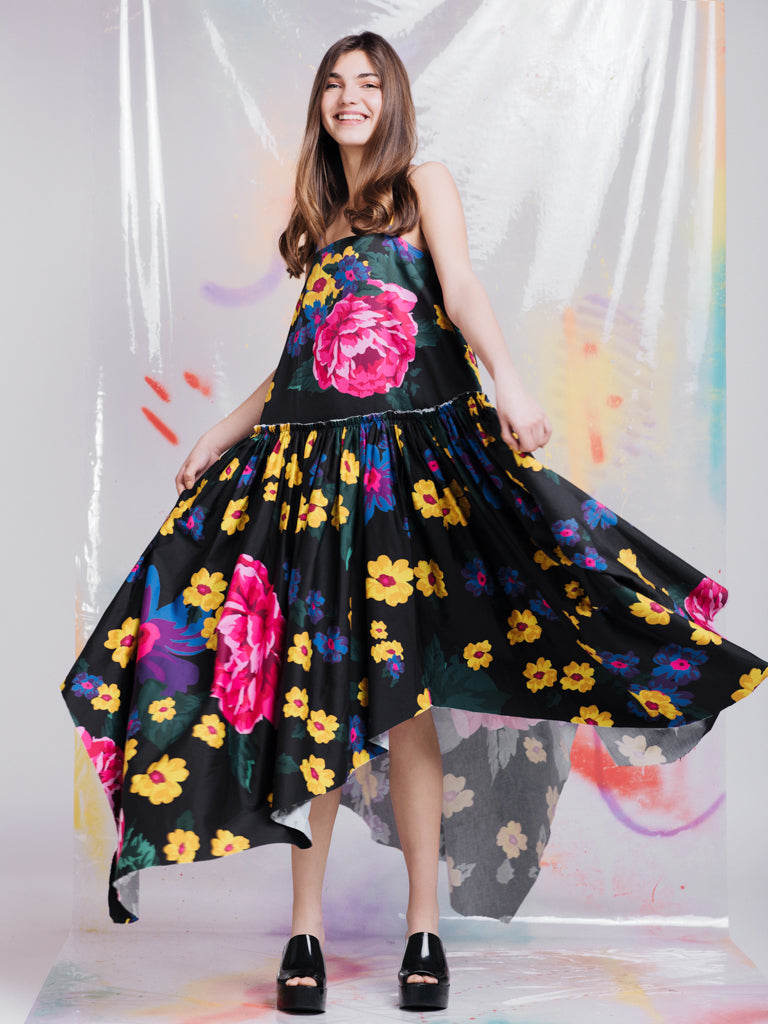 Marques'Almeida Black Floral Gathered Waist