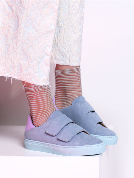 Freakloset Light Blue Suede Velcro Sneakers with Lilac Accent